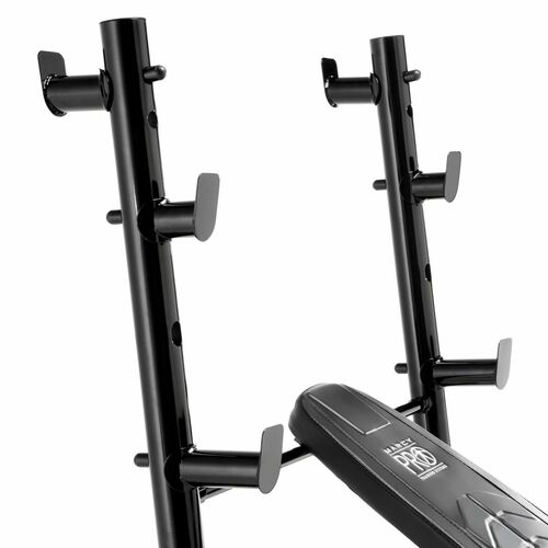 Rear facing squat catches make the Marcy Mid-Size Olympic Weight Bench | PM-5153 a convenient bench for upper and lower body workouts