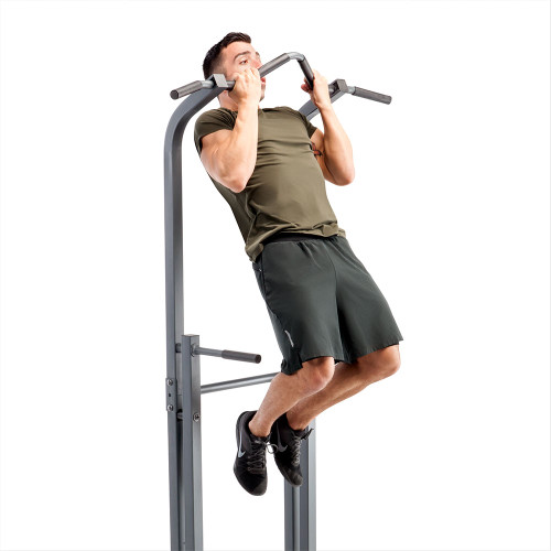 The Marcy Power Tower Multi-functional Home Gym Dip Station   TC-5580 includes a multi-grip pull-up bar