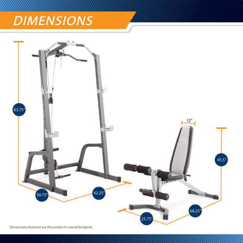 Marcy Deluxe Cage System with Weight Lifting Bench PM-5108 - Dimensions