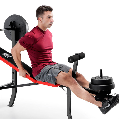 Marcy Pro Standard Weight Bench With 100 Lb Weight Set