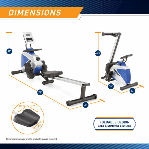 marcy foldable magnetic rower ME-1018RE folded position and dimensions - Infographic