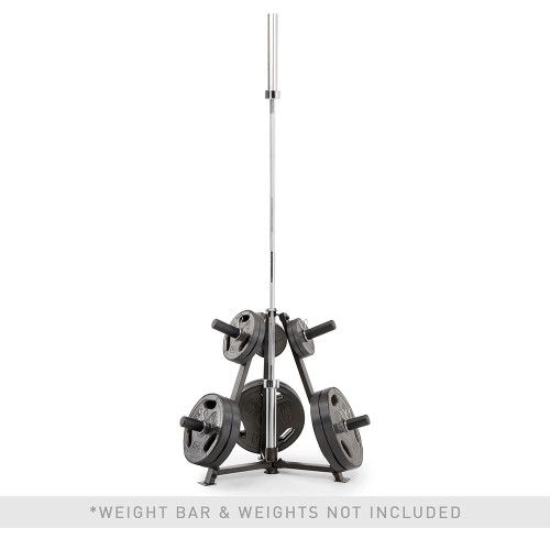 marcy 6-peg olympic weight plate tree Vertical bar holder PT-5757 with plates and barbell