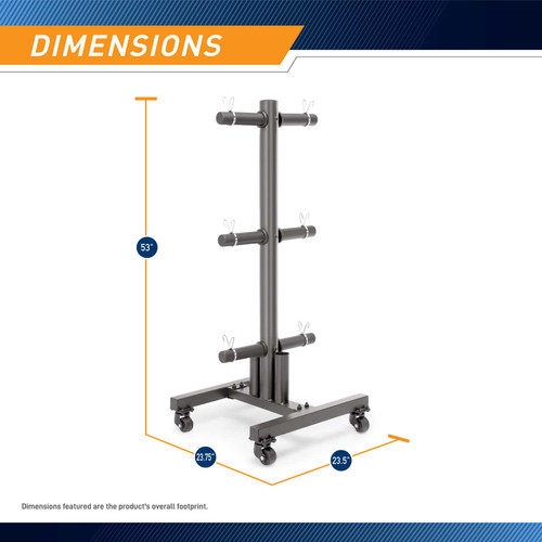 Marcy 6-peg Olympic weight plate tree PT-5856 is 53 inches tall and 23.75 inches wide