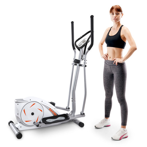 Marcy Magnetic Elliptical Trainer Cardio Workout Machine with Pulse Monitor & Transport Wheels NS-11043E with Model