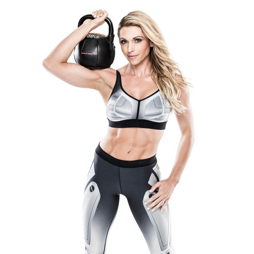 Bionic Body 35 lb. Soft Kettlebell held by Kim Lyons