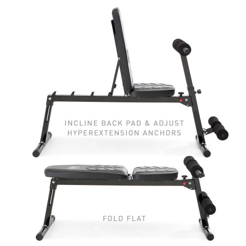 Multi-Position Utility Bench with Adjustable Hyper-Extension Anchor  PM-4880 Marcy - Adjustable Back Pad