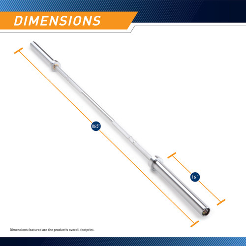45lb Olympic Barbell SteelBody - STB-1707CC - Chrome Silver bar - Dimensions