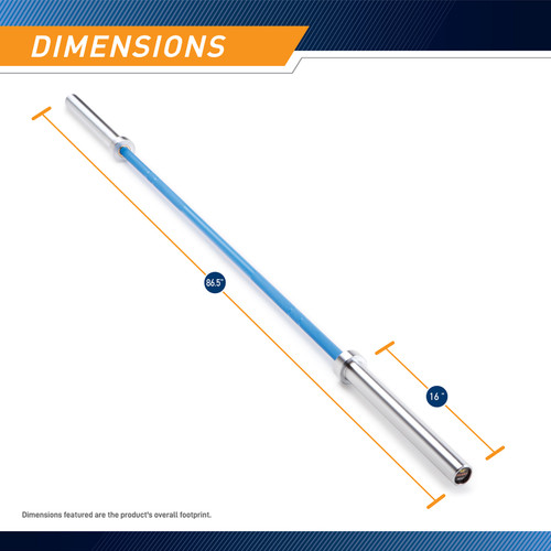45lb Olympic Barbell SteelBody - STB-1501BLC - Blue - Dimensions