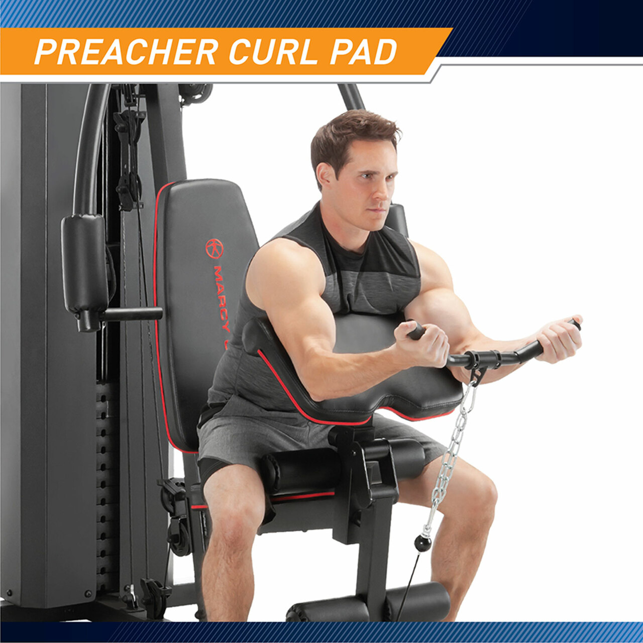 The Marcy Club 200 Lb Home Gym MKM-81010 has an adjustable preacher curl pad