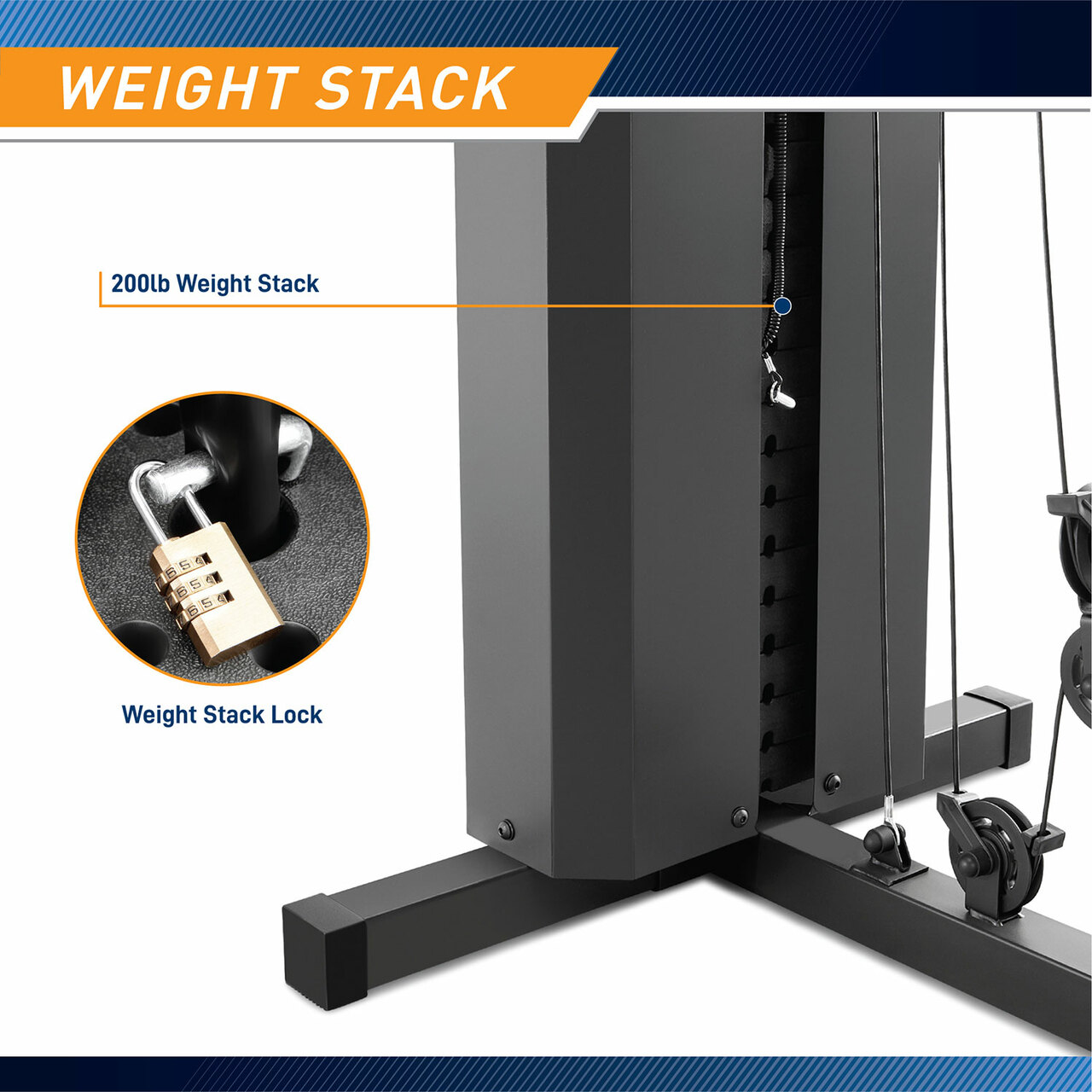 The Marcy Club 200 Lb Home Gym MKM-81010 comes with a lockable weight set for convenience and safety