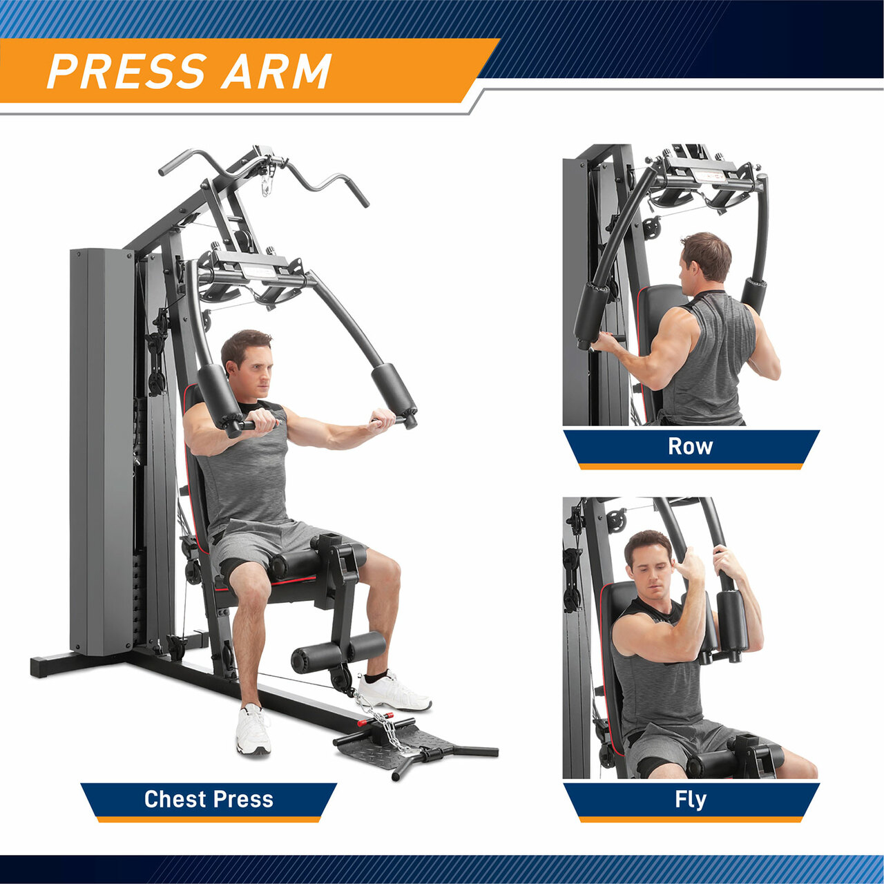 The Marcy Club 200 Lb Home Gym MKM-81010 has padded butterfly arms to target your pecs