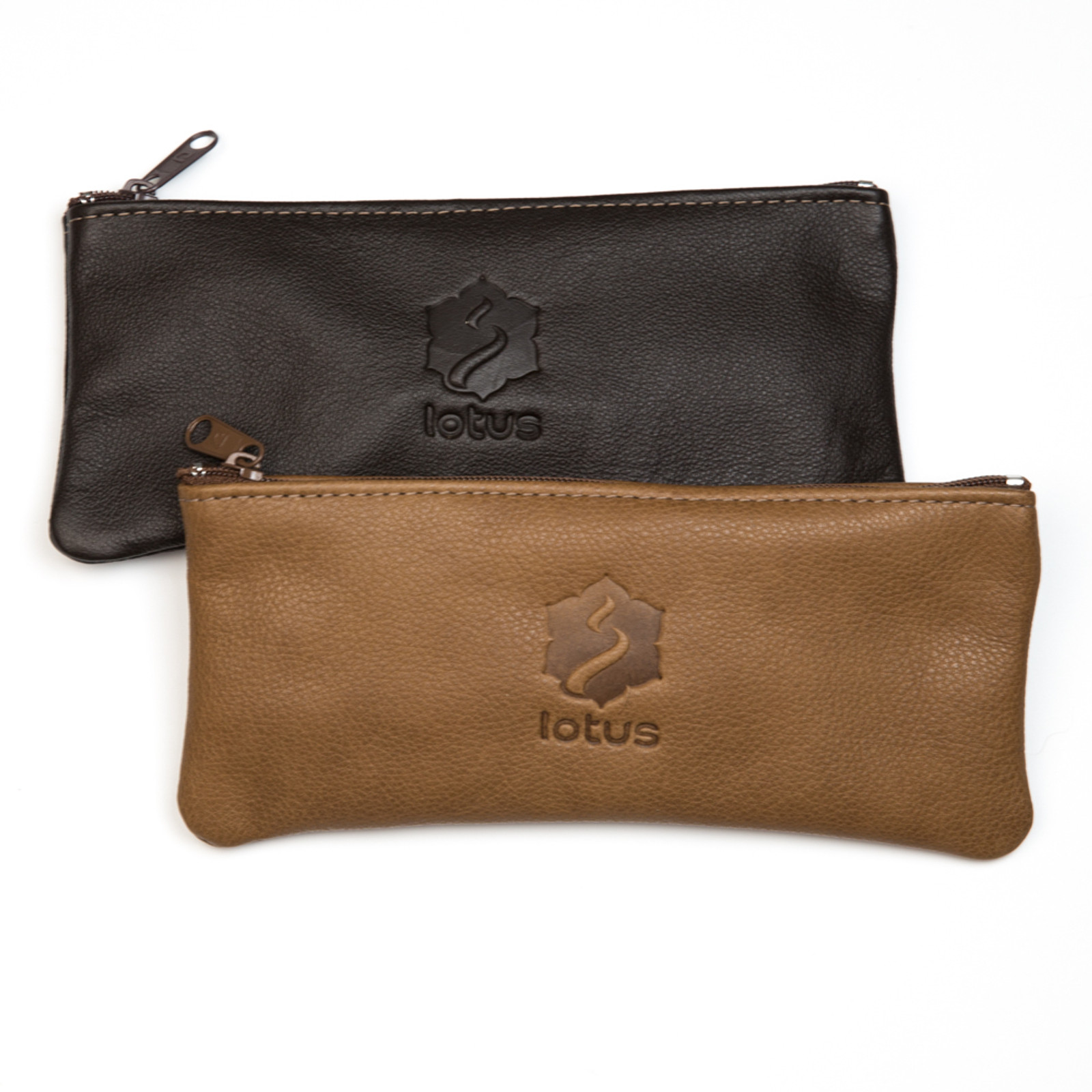 Brown and tan leather carry bags