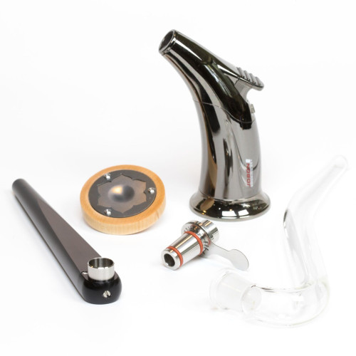Dual Stem Kit - Combines a standard stem pipe kit*, a water pipe adapter (WPA) and a J hook.  * Standard stem pipe kit includes aluminum stem, vapor cap, torch, carry bag.