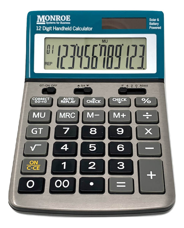 Monroe Handheld 12-Digit Calculator With Check And Correct Functionality