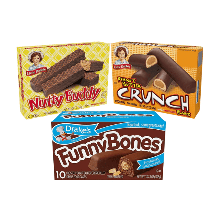 Peanut Butter Favorites Variety Pack features two boxes each of Drake's Funny Bones, Little Debbie Peanut Butter Crunch Bars, and Little Debbie Nutty Bars. That's six boxes total.