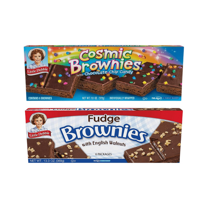 Little Debbie Brownie Bundle features three boxes each of Fudge and Cosmic Brownies. That totals six boxes per order.