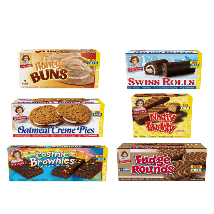 This Little Debbie Big Pack Variety Bundle features six boxes of Little Debbie favorites. Included with this purchase will be one box each of Oatmeal Creme Pies, Honey Buns, Swiss Rolls, Fudge Rounds, Cosmic Brownies and a box of Nutty Buddy.