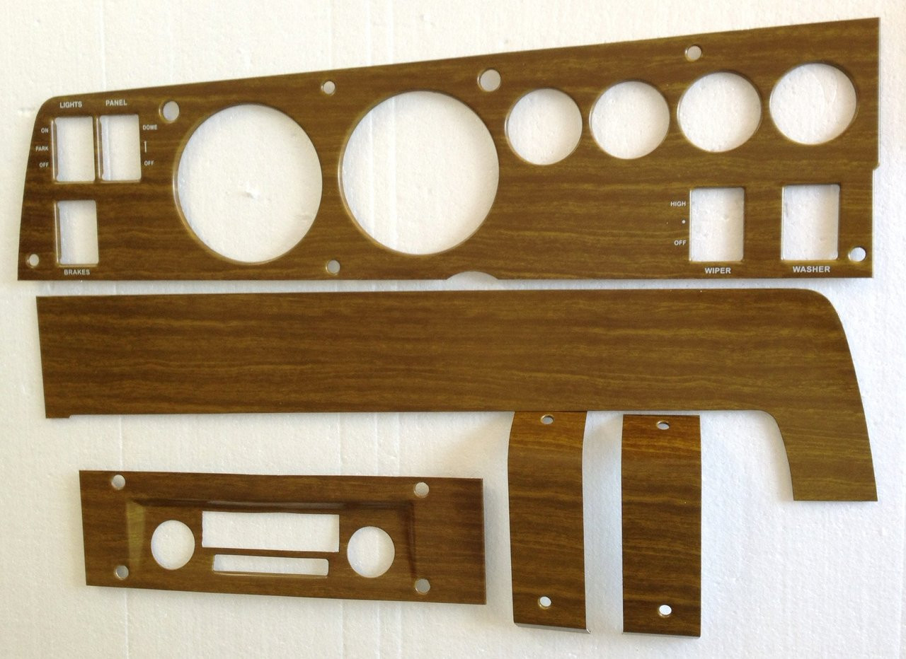 1970 Mopar B Body With Remote Mirror Interior Door Panel Woodgrain Insert Set