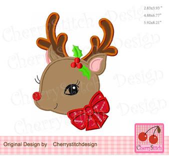 Christmas cute reindeer applique