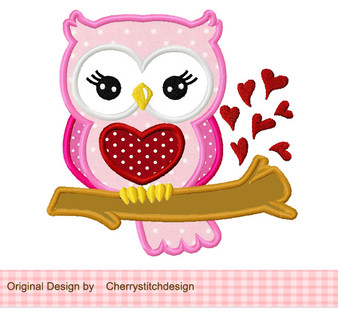 Valentine's Day Sweet Owl Machine Embroidery Applique Design