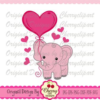Sweet elephant with heart balloon