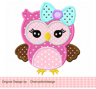 owl with bow applique_a