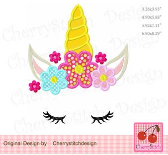 Unicorn flowers unicorn Machine embroidery applique design