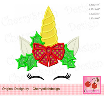 CH0173 Christmas Unicorn with bow