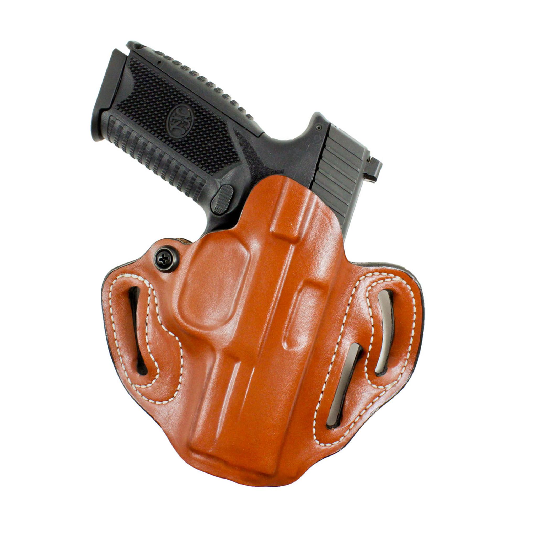 ON DUTY Gun Holster FN 5.7 Thumb Break RH OWB Black Leather