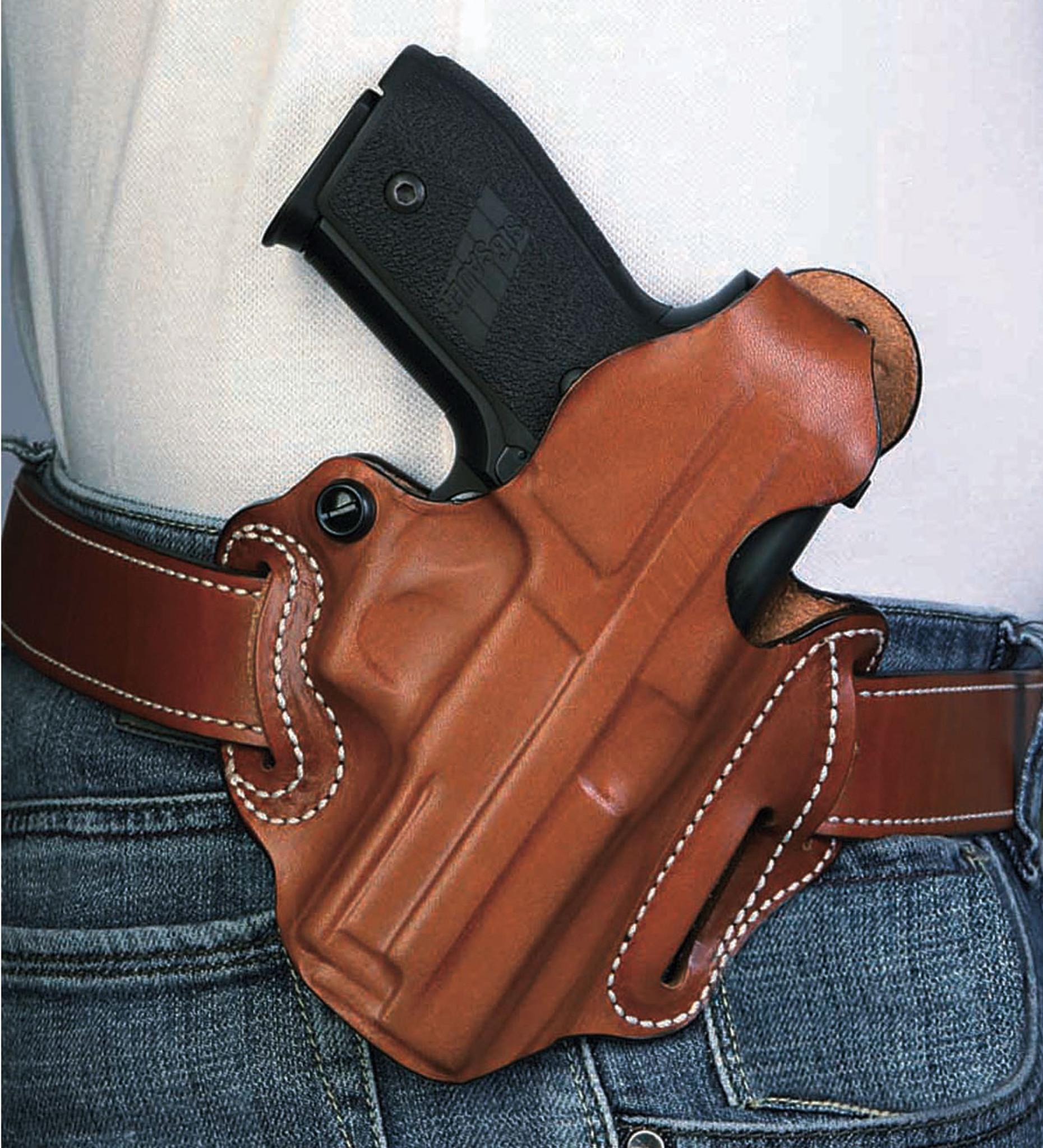 21 ON DUTY Gun Holster Glock 20 21SF Thumb Break RH OWB Black Leather