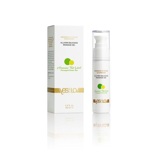 Massage Intégral Gourmand Ananas-Thé Vert. Heerlijk hybride glijmiddel op waterbasis met uitstekende glijcapaciteiten en net voldoende silicone om heel lang mee te gaan.