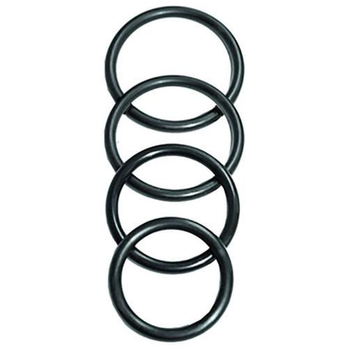 4 flexibele rubberen ringen in 4 formaten, als ring voor harnasjes of als penisring bruikbaar.