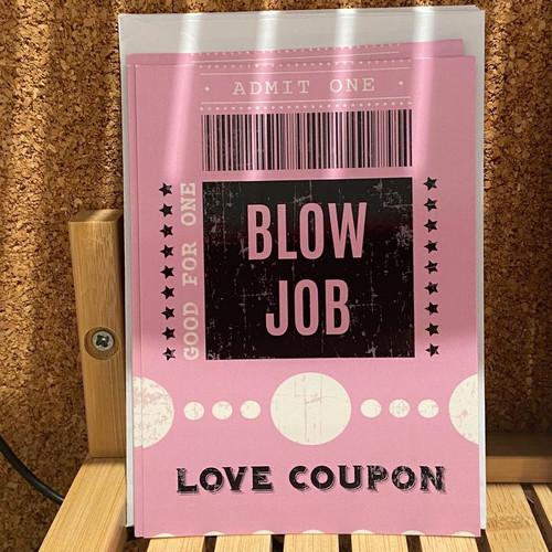 Coupon goed voor een blowjob.