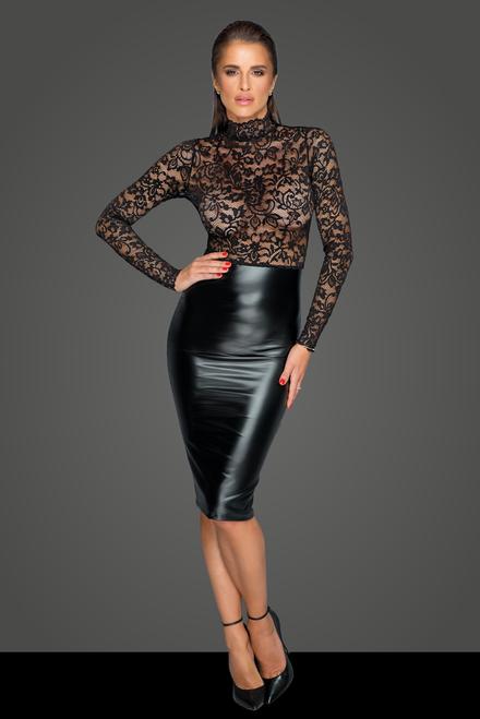 Sexy lange jurk met transparante kant