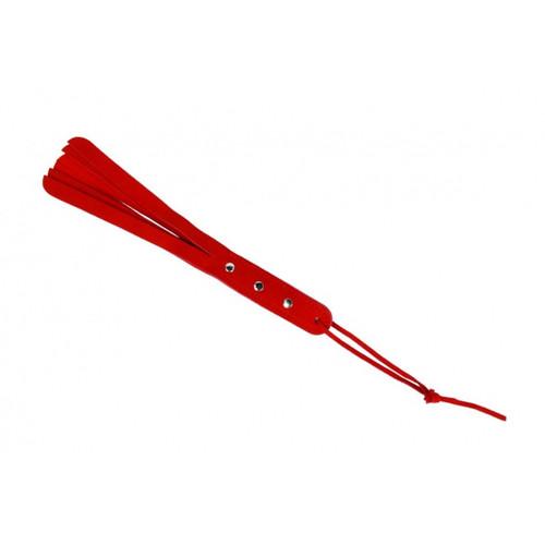 Handgemaakt rood velours lederen zweepje met polsriem.
