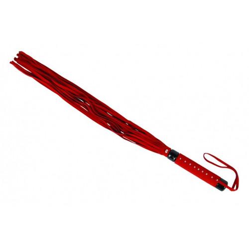 Flogger in rood veloursleder 15 riempjes