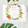 tropical beach wedding rsvp card front side