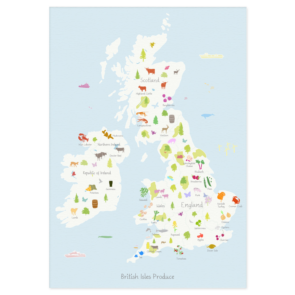 British Isles Produce Map Unframed Art Print illustration by artist Holly Francesca