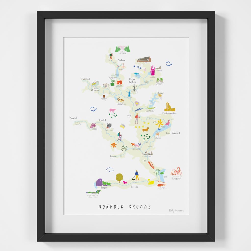 Map of Norfolk Broads National Park Art Print