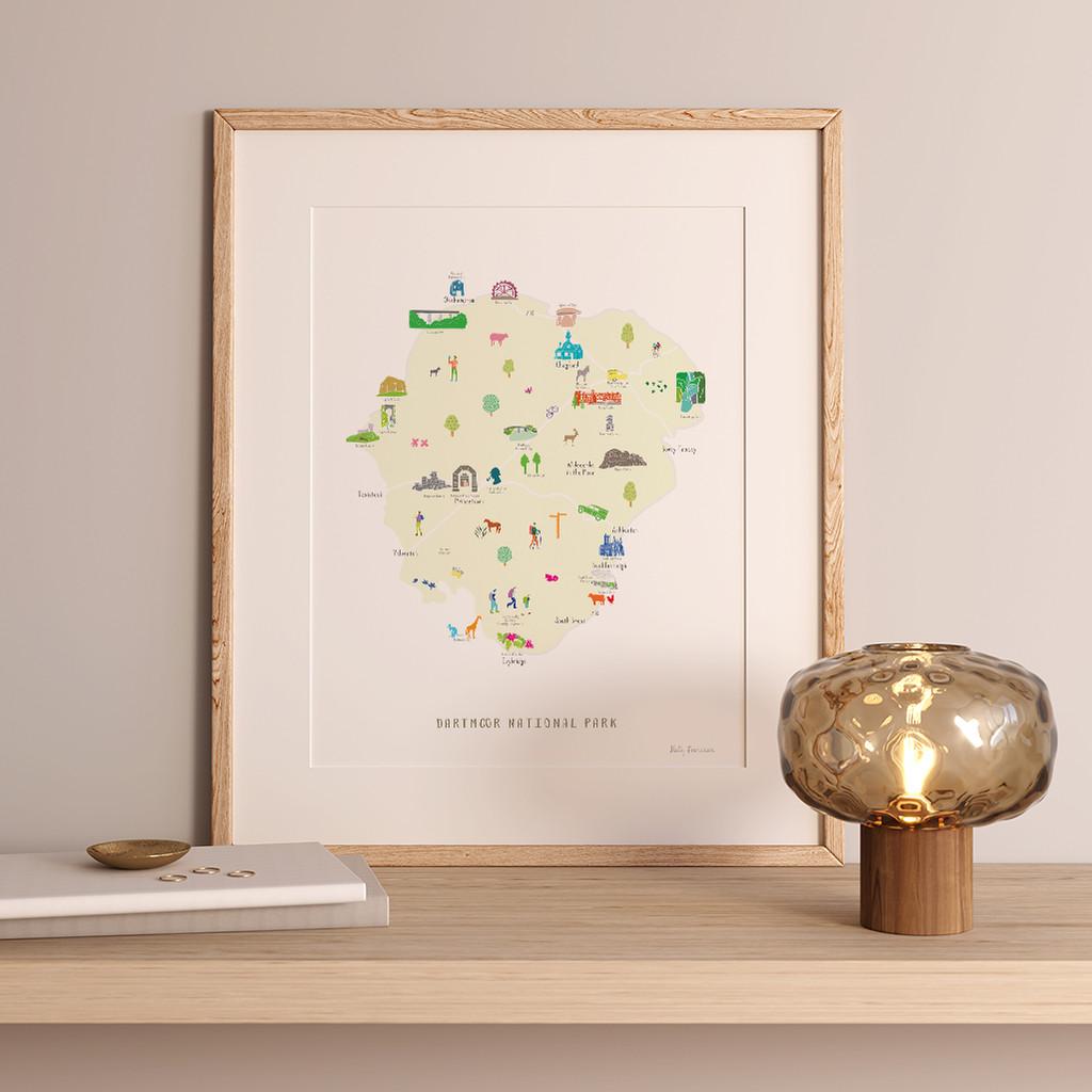 Map of Dartmoor National Park Art Print