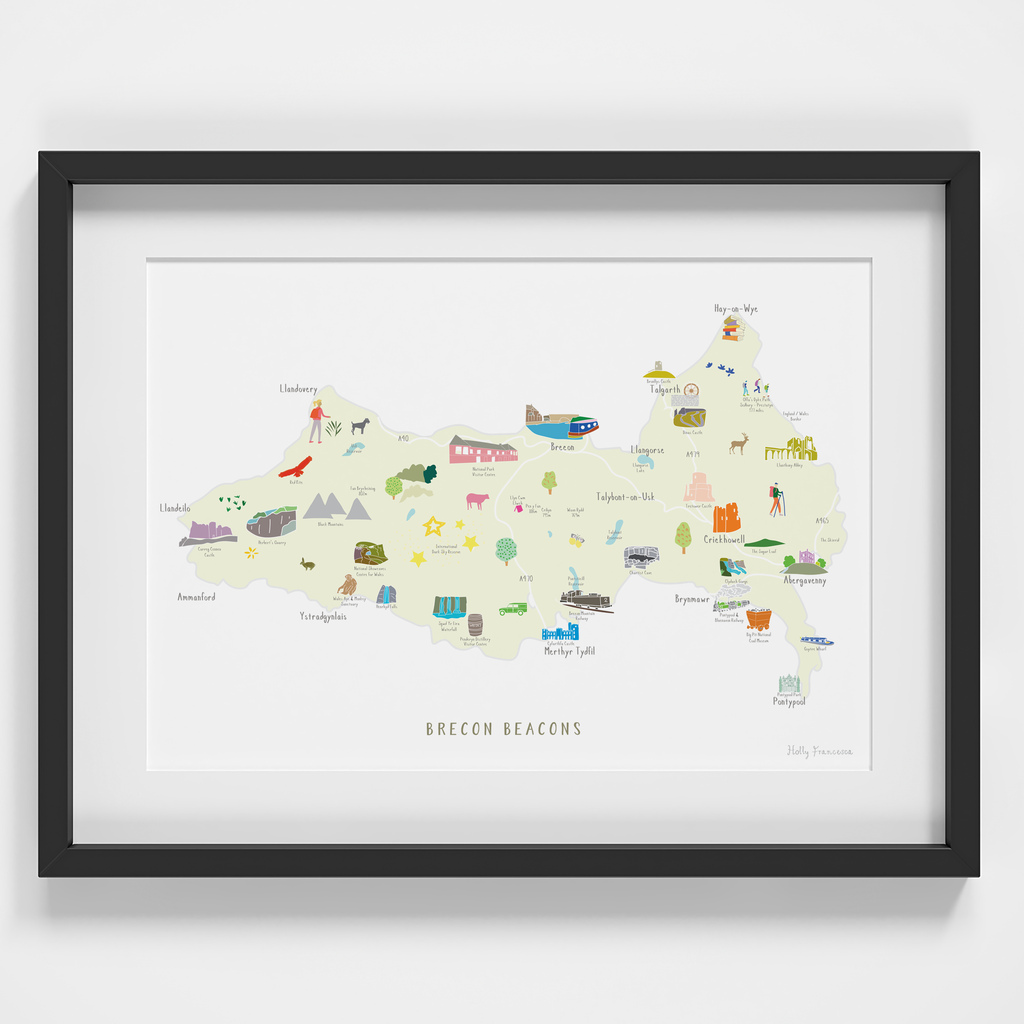 Map of the Brecon Beacons National Park Art Print