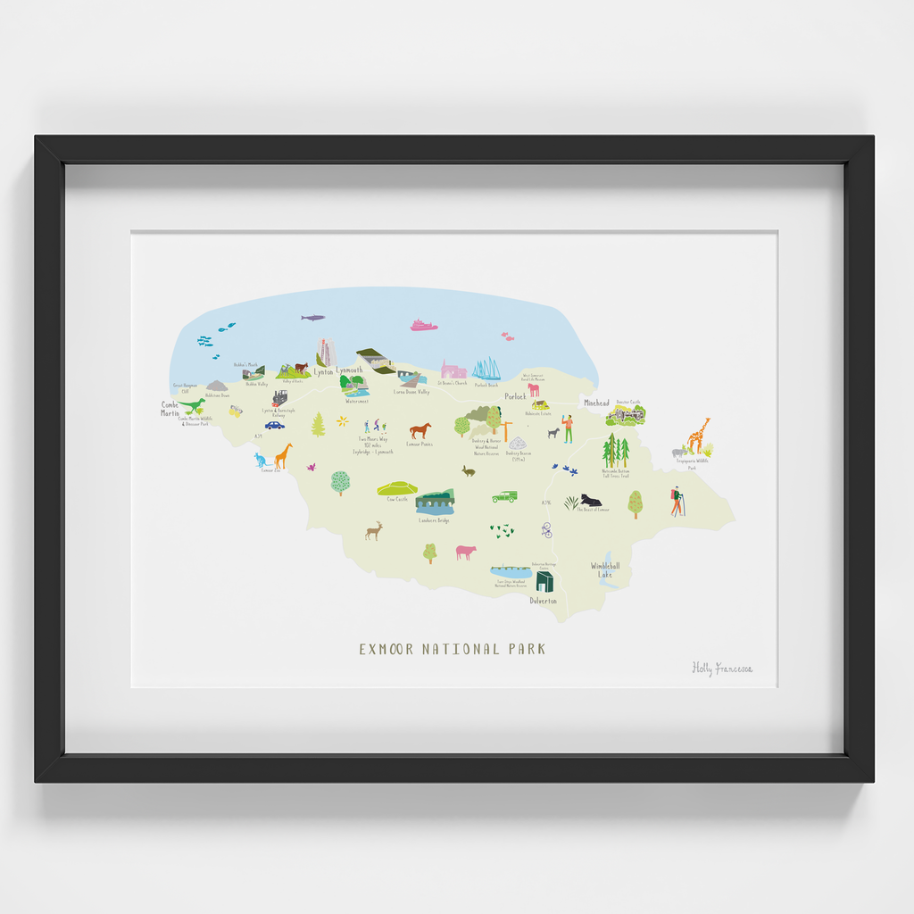 Map of Exmoor National Park Art Print