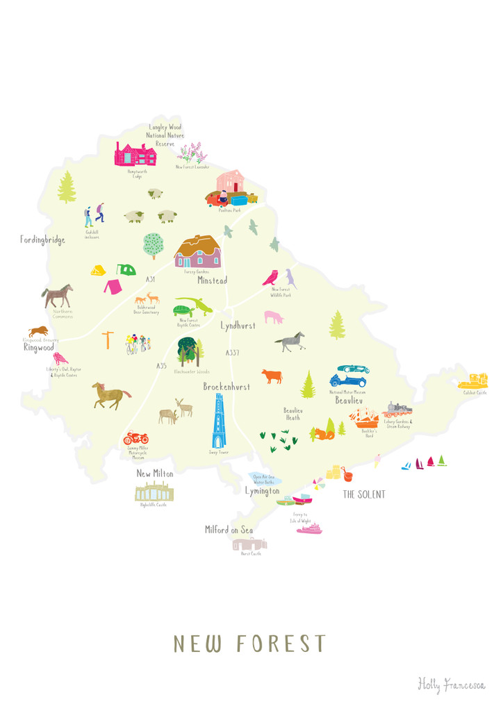 Map of the New Forest National Park Art Print