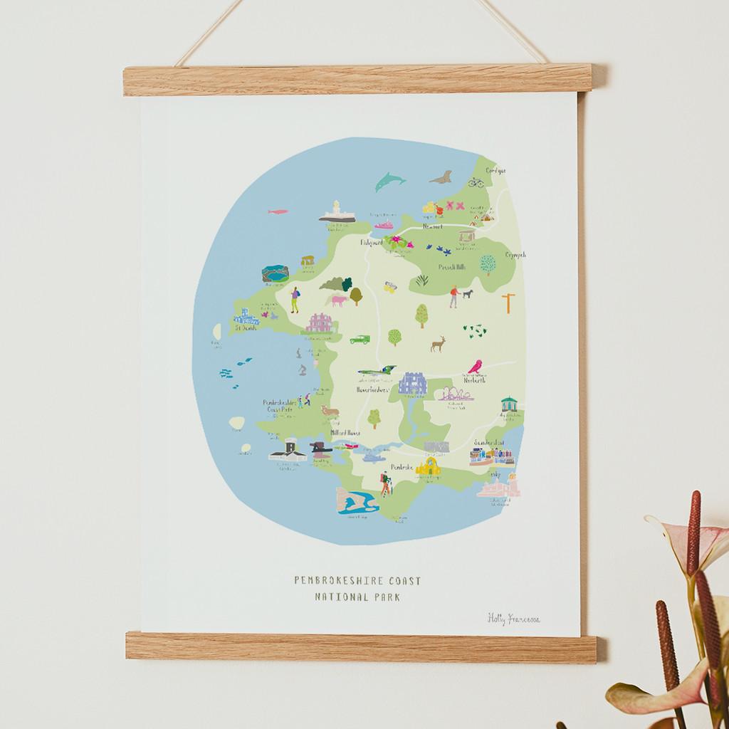 Map of the Pembrokeshire Coast National Park Art Print