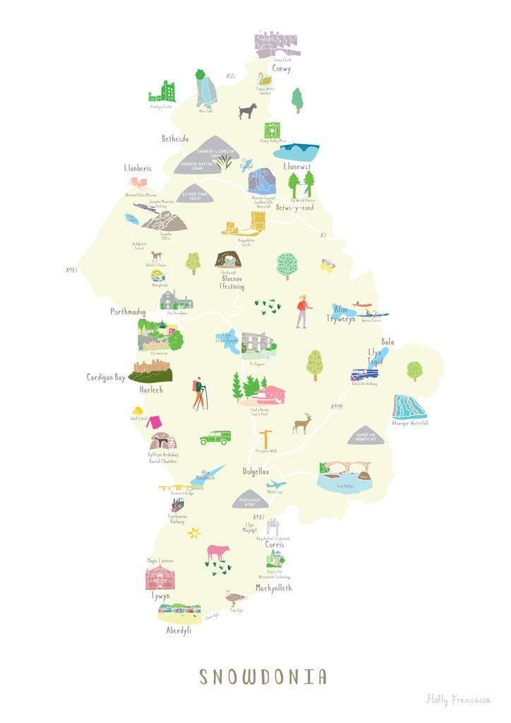 Map of Snowdonia National Park Art Print