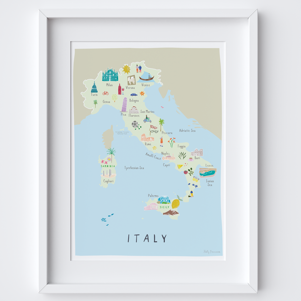 Illustrated Map of Italy Art Print by artist Holly Francesca