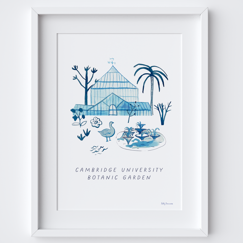 This travel poster of the Palm House, Cambridge University Botanic Garden was created from an original drawing & blue ink painting by artist Holly Francesca.