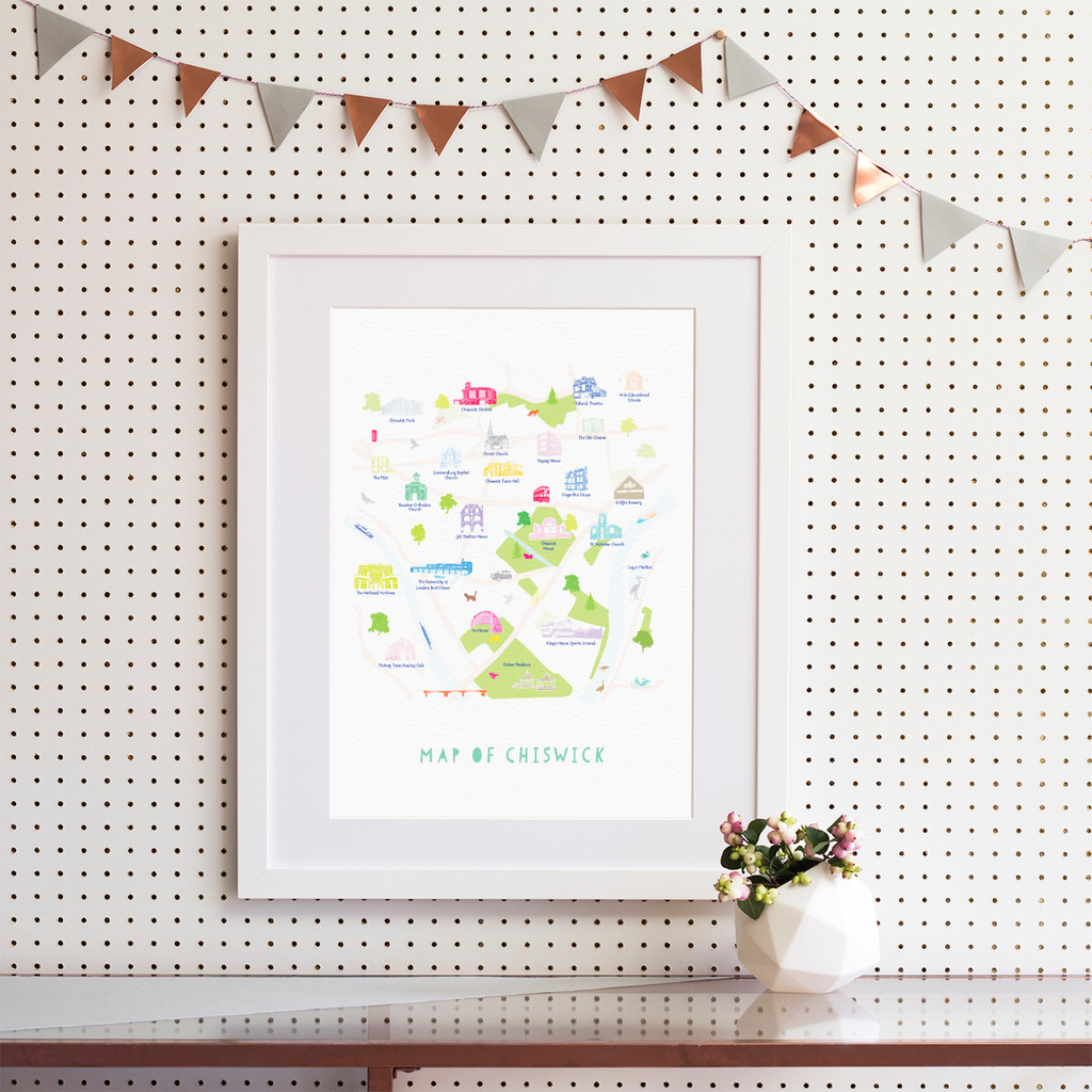 Illustrated hand drawn Map of Chiswick by UK artist Holly Francesca.