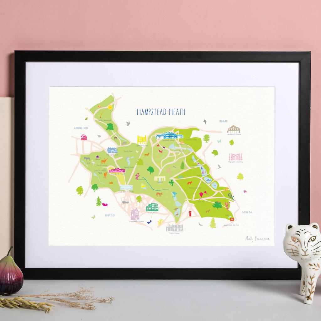 Illustrated hand drawn Map of Hampstead Heath art print by artist Holly Francesca.