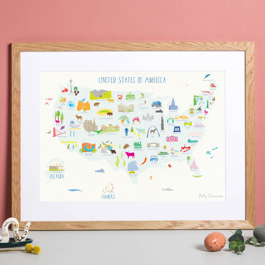 Illustrated hand drawn Map of USA States art print by artist Holly Francesca.